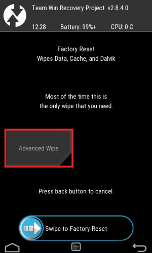Advanced Wipeをタップ