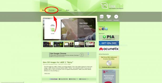 linuxmintのトップページ
