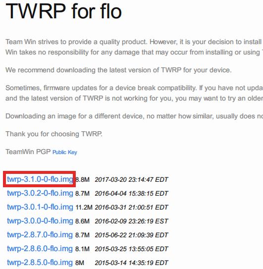 twrp-3.1.0-0-flo.imgを選択します。